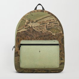 Vintage Pictorial Map of Veracruz Mexico (1869) Backpack