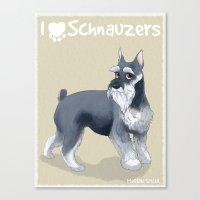 schnauzer Canvas Prints featuring Schnauzer by Bark Point Studio