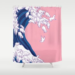 Llama Waves in Pink Shower Curtain