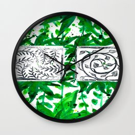 vegetal watercolor and linosculpting Wall Clock