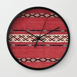 Triangle Stripe Kilim IV 19th Century Authentic Colorful Red Black White Vintage Patterns Wall Clock