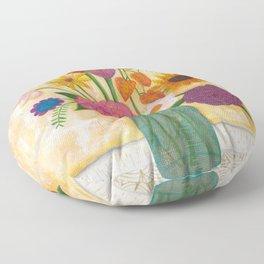 blue jar of flowers Floor Pillow
