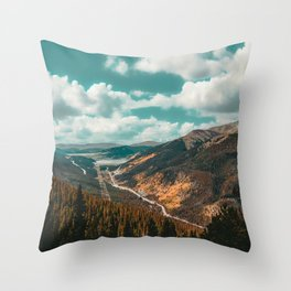 High Above // Teal Blue Sky Autumn Fall Color Woodlands in Colorado Throw Pillow