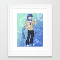 vocaloid Framed Art Prints featuring Kaito - VOCALOID Gakuen by Tenki Incorporated