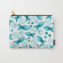 Little Fish + Spirals Pattern In Teal Carry-All Pouch