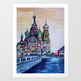 st petersburg  with church of the savior on blood Art Print