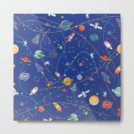 Space Rocket Pattern Metal Print