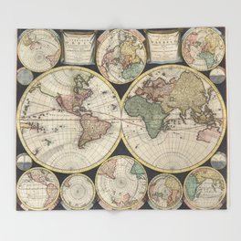 Vintage Map of The World (1696) Throw Blanket