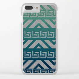 """Blue Aztec Urban Textured Pattern"" Clear iPhone Case"