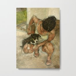Girl Playing with Puppy Dog Impressionist Oil Painting Metal Print