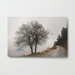 """""""Mountain path"""". Retro Metal Print"""