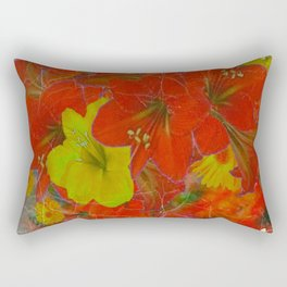 GRUNGY ANTIQUE RED FLORAL STILL LIFE BOUQUET Rectangular Pillow