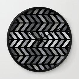 Chevron Black Gray Wall Clock