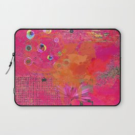 Hot Pink & Orange Abstract Art Collage Laptop Sleeve