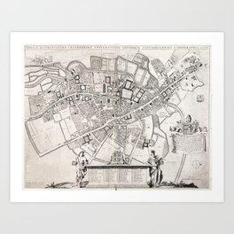 Vintage Map of Cambridge England (1690) Art Print