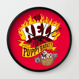 To Hell in a Puppy Basket Wall Clock