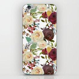 Burgundy brown green teal watercolor botanical floral iPhone Skin