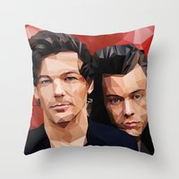 larry stylinson Throw Pillows featuring Polygonal Larry by Peek At My Dreams