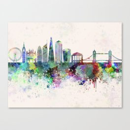 London V2 skyline in watercolor background Canvas Print