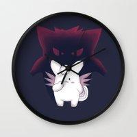 gengar Wall Clocks featuring Doppelganger by Ruwah