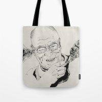 lama Tote Bags featuring Dalai Lama by RiversAreDeep