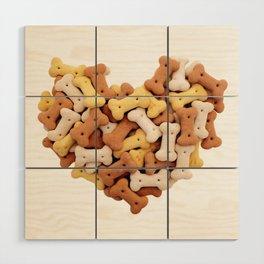 Dog biscuits Valentine heart Wood Wall Art