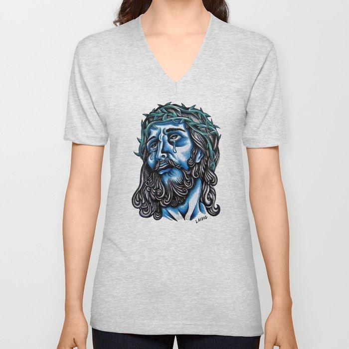 The Blue Jesus  Unisex V-Neck