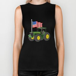 Green Tractor With American Flag Biker Tank