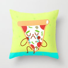 Sad pizza Throw Pillow
