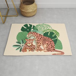 Blush Jaguar Love, Wildlife Wild Cats Illustration, Chic Bohemian Jungle Tropical Palm Rug