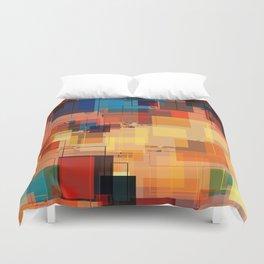 Multi color Square Geometrical Overlays Duvet Cover