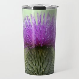 Bright Purple and Green Thistle Travel Mug
