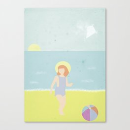 Girl at the beach with kite and ball in the 1950's vintage Canvas Print