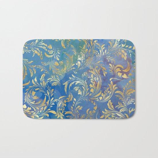 Blue Gold Swirls #2 Bath Mat
