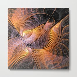 the fractal bird - orange Metal Print