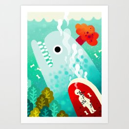 Whale and Pinocchio Art Print