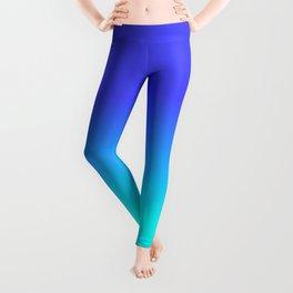 Neon Blue and Bright Neon Aqua Ombré Shade Color Fade Leggings
