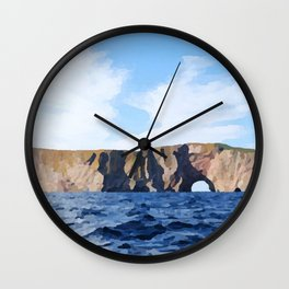Percé Rock Tunnel Straight Generally Crooked Hole Under Wall Clock