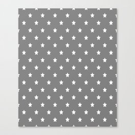Grey With White Stars Pattern Canvas Print