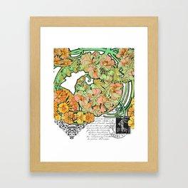 Romance in Paris, Art Nouveau Floral Nostalgia Framed Art Print