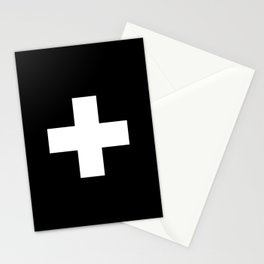 Swiss Cross Black and White Scandinavian Design for minimalism home room wall decor art apartment Stationery Cards