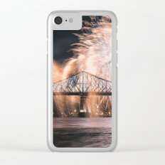 Fireworks bridge Clear iPhone Case