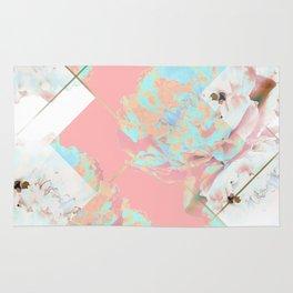 Abstract Blush Geometric Peonies Flowers Design Rug