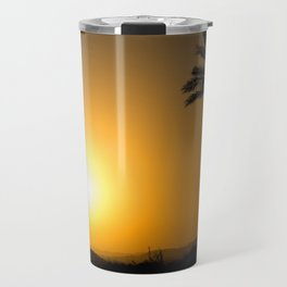 Golden Andalusian sunset with silhouette palm trees and mountain Travel Mug