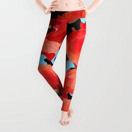 Poppie Camouflage Red Blue Leggings