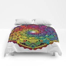 Time Dilation - Psychedelic Mandala Rainbow series Comforters
