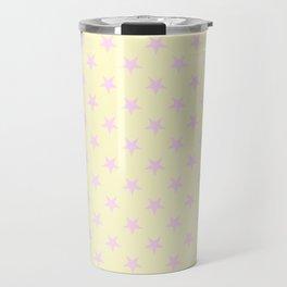 Pink Lace on Cream Yellow Stars Travel Mug