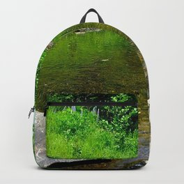 lake river grass stones summer Backpack