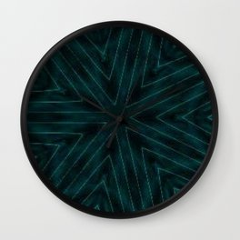 Teal Forest Green Snowflake Wall Clock