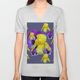 COLLAGE OF CHARCOAL GREY PURPLE PANSIES YELLOW IRIS Unisex V-Neck